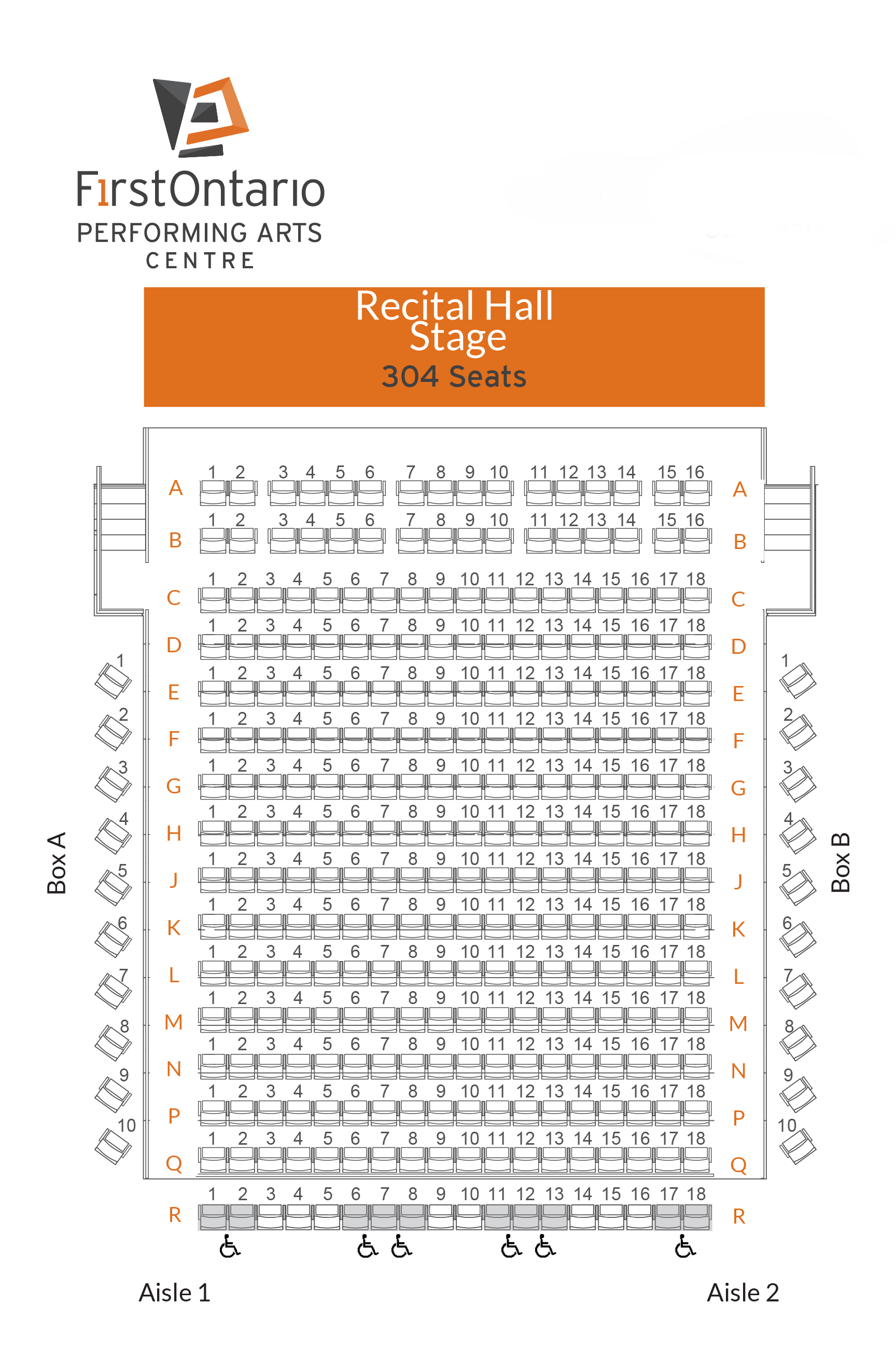 Cairns Recital Hall - Seat Map